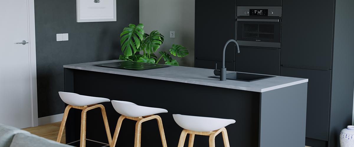 Zwarte spoelbak keuken