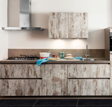 Keuken met steigerhout look