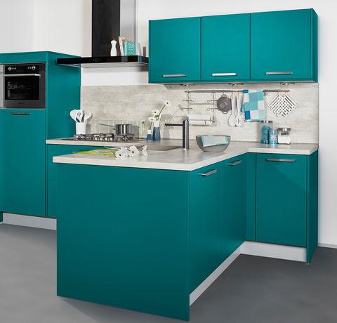 Moderne blauwe keuken