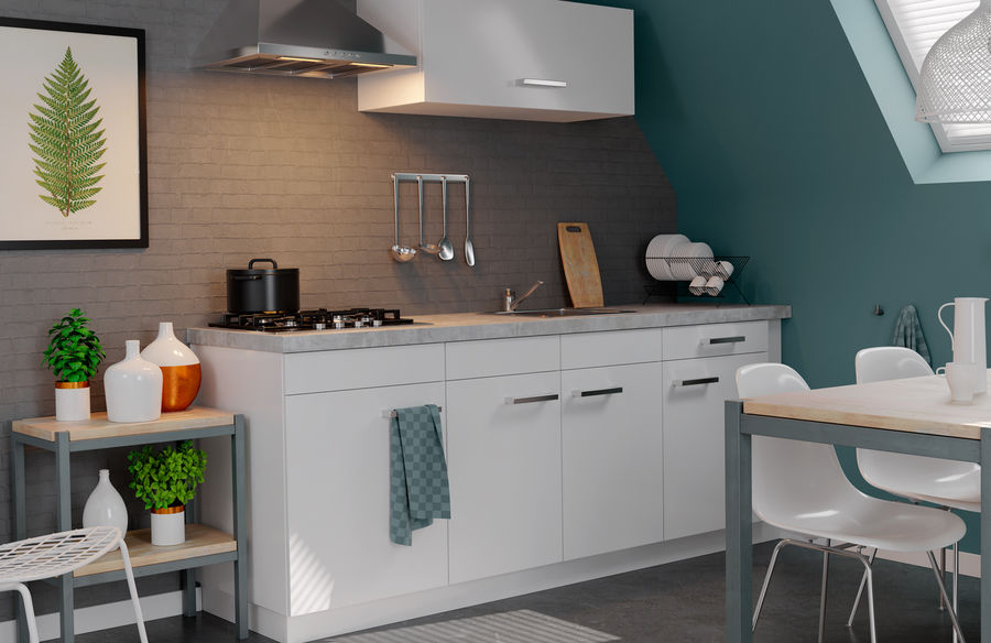 Frisse keuken met kunststof aanrechtblad