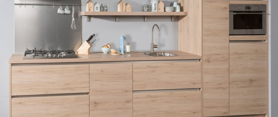 Strakke houten keuken