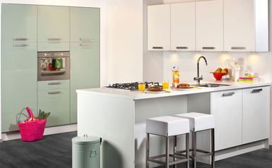 Grijs groene keuken