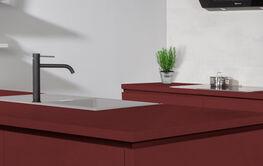 Rood keukenblad